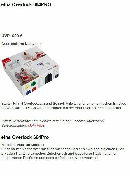 Elna Overlock 664 pro + Gutschein