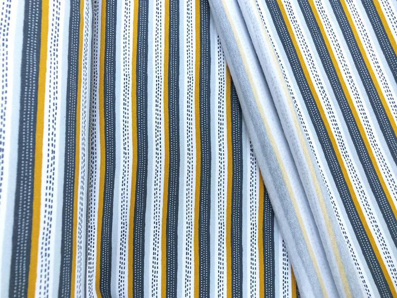 Bio Kuschelsweat Streifen weiß grau senf