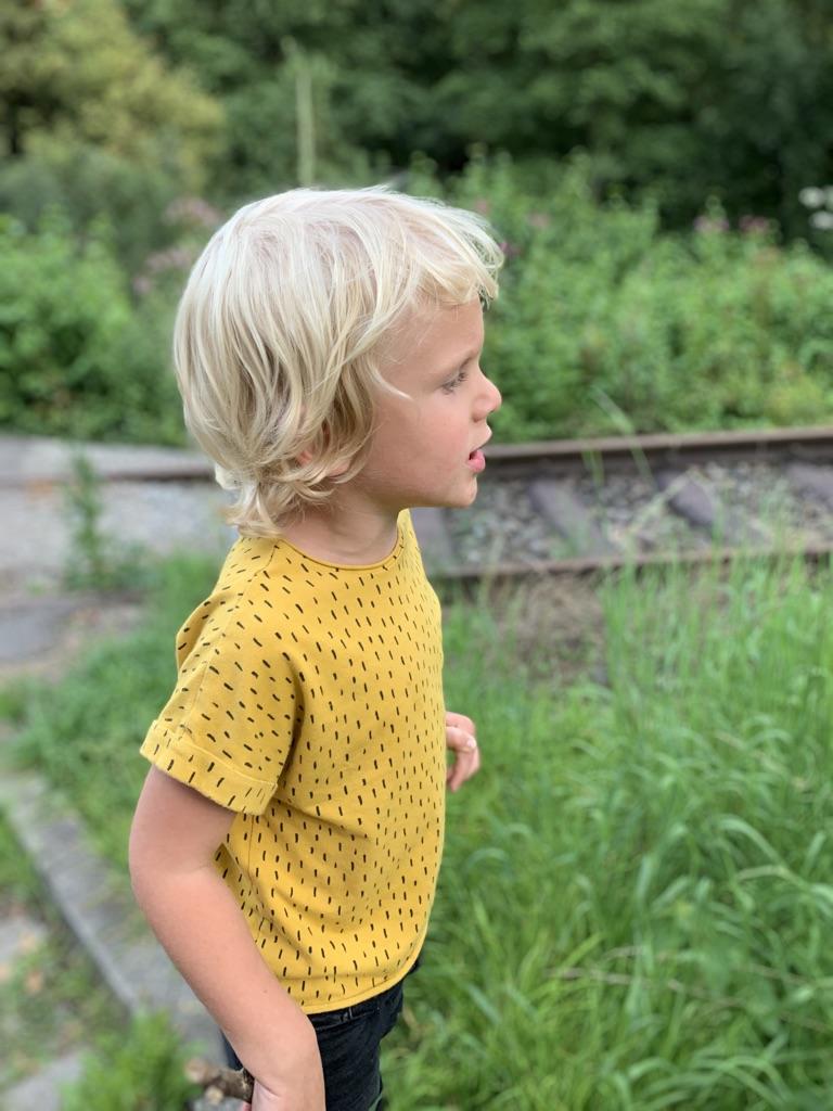 Bio Jersey gelb mit schwarzen kleinen Streifen