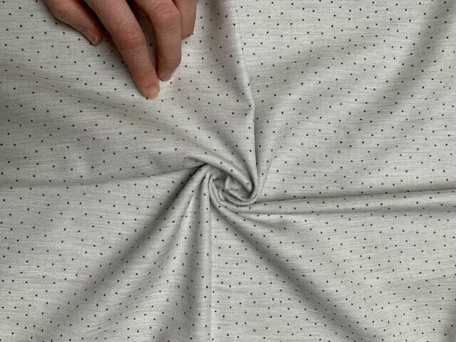 Bio Baumwolle hellgrau mit dunkelgrauen Punkten