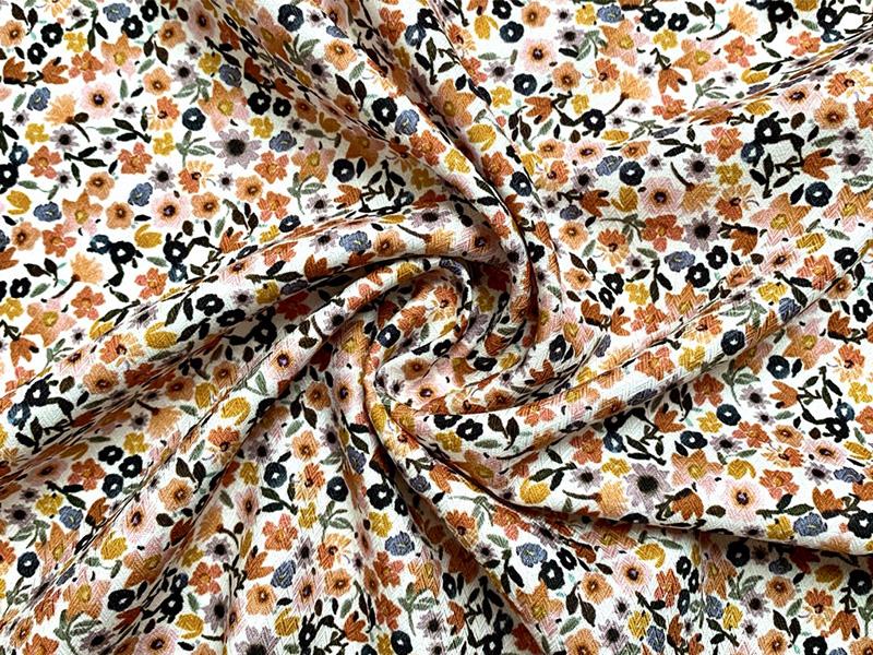 Baumwolle/Viskose Blumenmuster orange-rosa-weiß