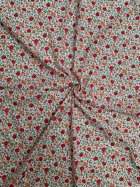 Bio Baumwolle Voile Blumen rot-grün-orange