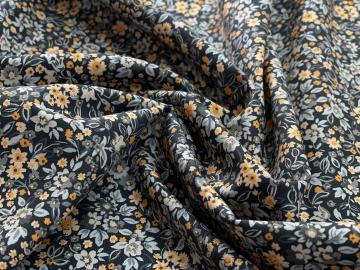 Baumwolle Bio Popeline floret orange grau