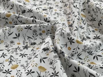 Baumwolle Bio Popeline Gräser und Blumen grau ocker