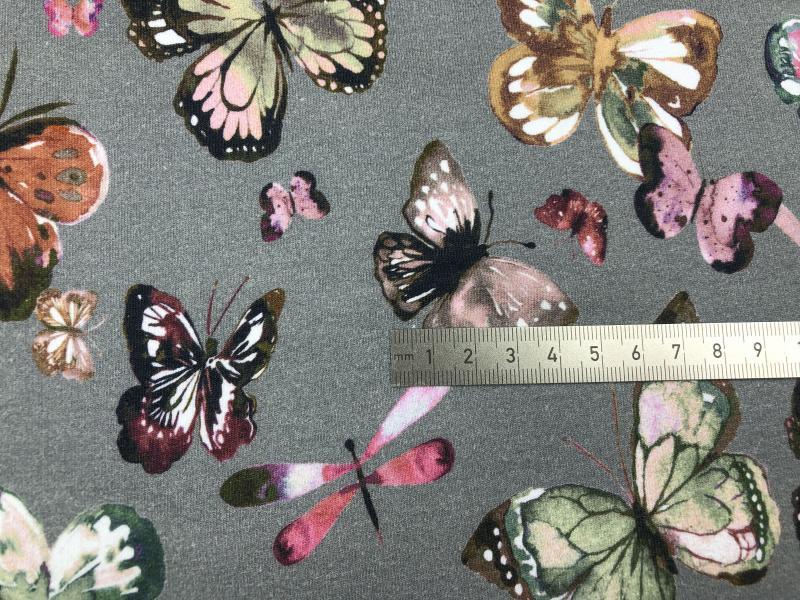 Bio French Terry Schmetterling grau