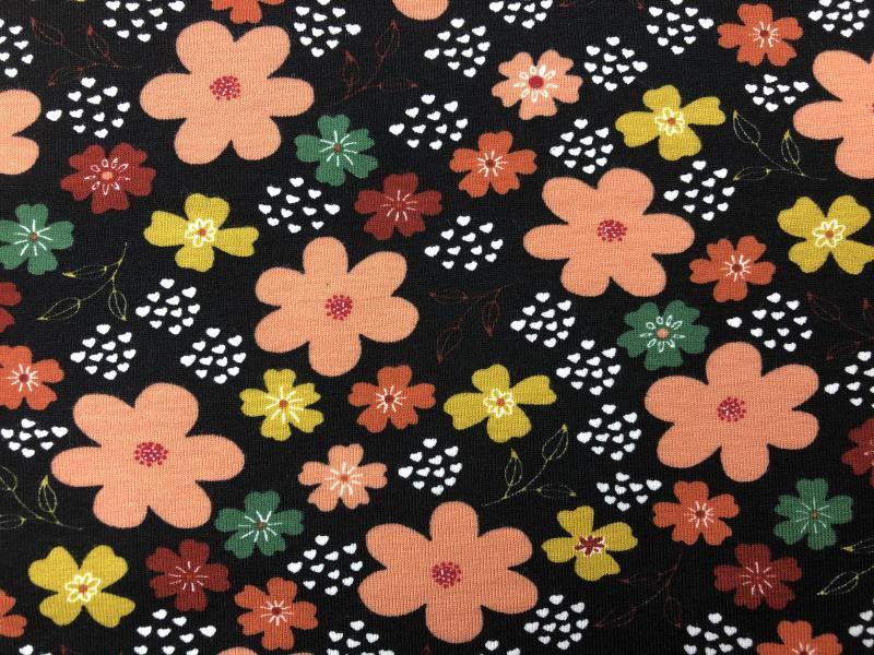 Bio Jersey schwarz Blume lachsrosa rost