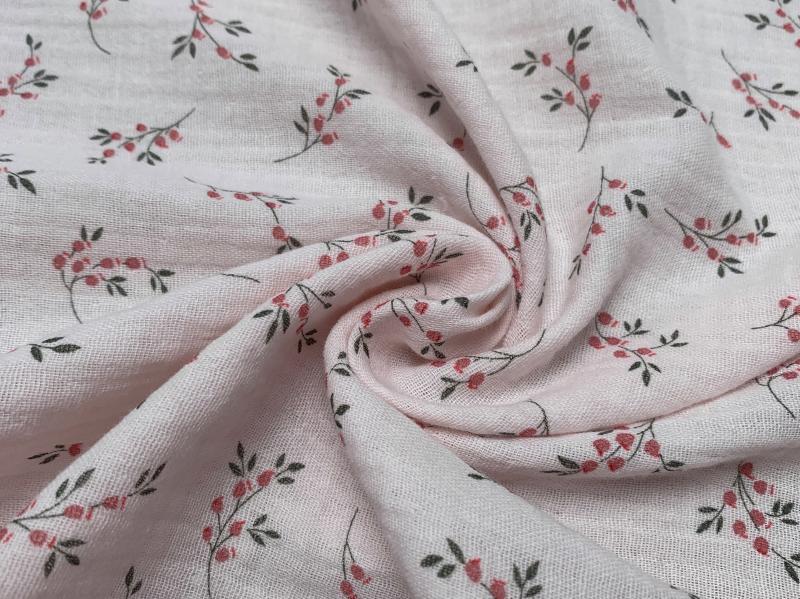Bio Musselin Flower rosa aprico grün